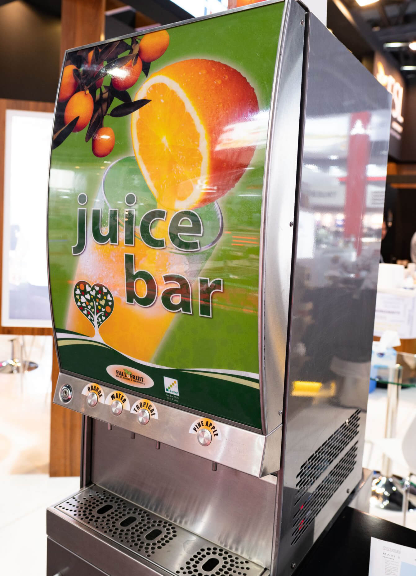 Environmentally friendly storage, shelf-life, sugar free juice, high cool capacity juice, healthy juice, less reduced manpower, German made juice machines